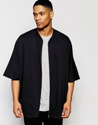 Asos Oversized Jersey Short Sleeve Bomber Jacket Black