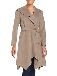 Zac Posen Sofia Hooded Wool Blend Coat Taupe Melange
