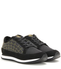 Charlotte Olympia Work It Embroidered Fabric And Suede Sneakers Black