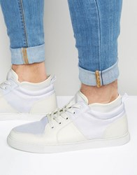 Asos Mid Top Trainers In White With Neoprene White