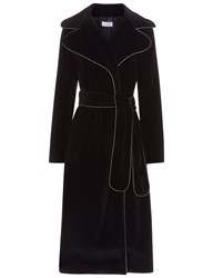 Isa Arfen Black Velvet Piped Coat