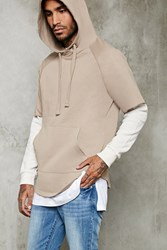 Forever 21 Raw Cut Layered Sleeve Hoodie Taupe Cream