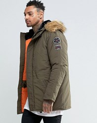 Heros Heroine Hero's Parka With Faux Fur Hood Khaki Green