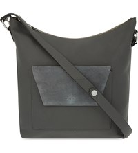 Whistles Verdi Envelope Pocket Leather Shoulder Bag Grey