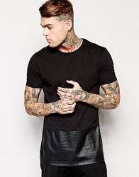 Asos Longline T Shirt With Mock Crocodile Hem Panel Relaxed Skater Fit Black