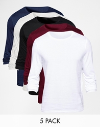 Asos Long Sleeve T Shirt With Crew Neck 5 Pack Save 25 Blackwhitenavy