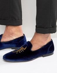 Asos Loafers In Navy Velvet With Scorpian Embroidery Navy