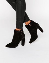 Ted Baker Maryne Buckle Point Suede Heeled Ankle Boots Black Suede
