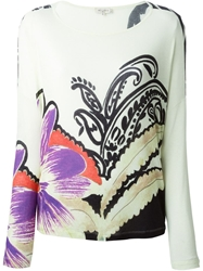 Etro Floral Print Long Sleeve T Shirt Green