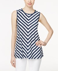Styleandco. Style And Co. Sleeveless Chevron Print Top Only At Macy's Summer Stripe Blue