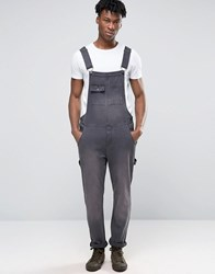Asos Denim Dungarees With Abrasions In Washed Black Black