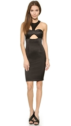 Shakuhachi Bustier Cutout Halter Dress Black