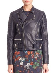 Cedric Charlier Leather Moto Jacket Blue