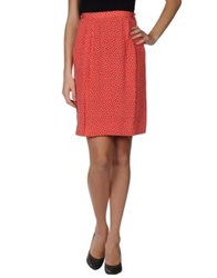 Clips Knee Length Skirts Red