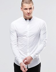 Asos Skinny Shirt In White With Contrast Wing Collar And Long Sleeves White