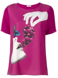 P.A.R.O.S.H. Grape Print T Shirt Pink Purple