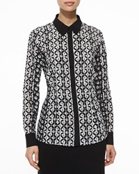 Escada Graphic Floral Mixed Print Blouse Black White Size 36 De 6 Us