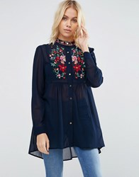 Brave Soul Longline Shirt With Embroidered Detail Navy