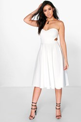 Boohoo Cut Out Bandeau Midi Skater Dress Ivory