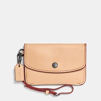 Coach 1941 Envelope Key Pouch In Glovetanned Leather Dark Gunmetal Beechwood