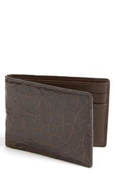 Men's Boconi Crocodile Slimfold Wallet Brown