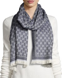 Gucci Reversible Wool Stencil Scarf Sand Blue