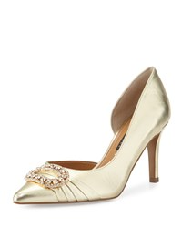 Kay Unger Baline Jeweled Half D'orsay Pump Gold