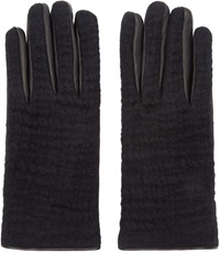Neil Barrett Black Leather And Wool Gloves