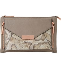 Dune Engellie Removable Snake Embossed Pouch Clutch Bag Grey Reptile Synthetic