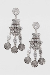 Topshop Engraved Coin Drop Earrings Clear