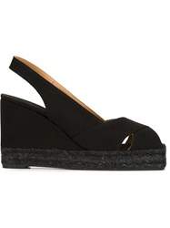 Castaner Castaner Sling Back Wedge Sandals Black