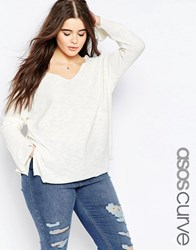 Asos Curve Jumper With V Neck And Split In Natural Yarn Cream