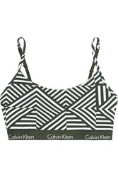 Calvin Klein Underwear One Printed Stretch Cotton Jersey Bra Army Green