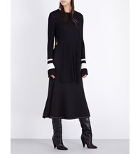 Ellery Bell Sleeve Knitted Top Black With White