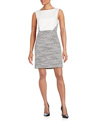 4.Collective Colorblock Tweed Dress White Black