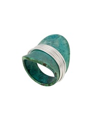 Robert Lee Morris Soho Teal Wire Wrapped Sculptural Patina Ring Green