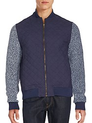 Saks Fifth Avenue Chambray Quilted Bomber Jacket Denim