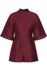Valentino Cotton And Silk Blend Playsuit Burgundy