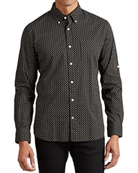 John Varvatos Star Usa Skull Print Roll Sleeve Slim Fit Button Down Shirt Black