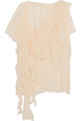 Marques' Almeida Ruffled One Shoulder Silk Top Cream