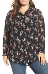 Vince Camuto Plus Size Women's Two By Bouquet Ditsy Collared Tunic Blouse