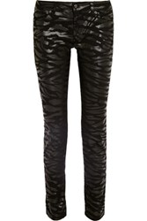 Mcq By Alexander Mcqueen Coated Mid Rise Slim Fit Jeans Black