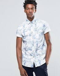 Celio Slim Fit Short Sleeve Shirt With All Over Leaf Print Bleached Navy