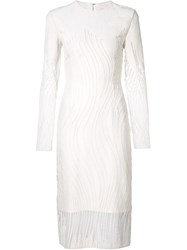 Christian Siriano Sheer Panel Fitted Dress White