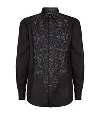 Just Cavalli Silk Front Safety Pin Print Shirt Male Black