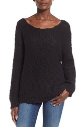 Women's Glamorous Nubby Stitch Pullover Sweater Black