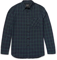 Rag And Bone Beach Checked Cotton Shirt Navy