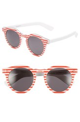 Illesteva Women's 'Leonard Ii' 50Mm Round Mirrored Sunglasses Red Stripes