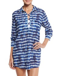 Tory Burch Ziggy Lace Up Coverup Tunic Tie Dye Stripe