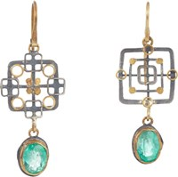 Judy Geib Emerald Gold And Silver Double Drop Earrings Colorless